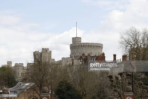 General view shows Windsor Castle, in Windsor, west of London, on April 9 following the announcement of the death of Britain's Prince Philip, Duke of...