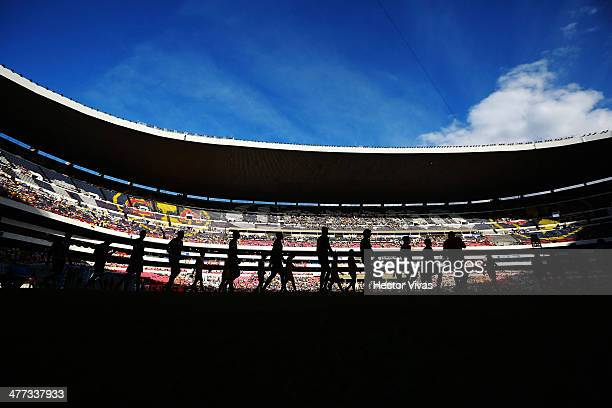 General view spect of Azteca Stadium before a match between America and Santos Laguna as part of the 10th round Clausura 2014 Liga MX at Azteca...