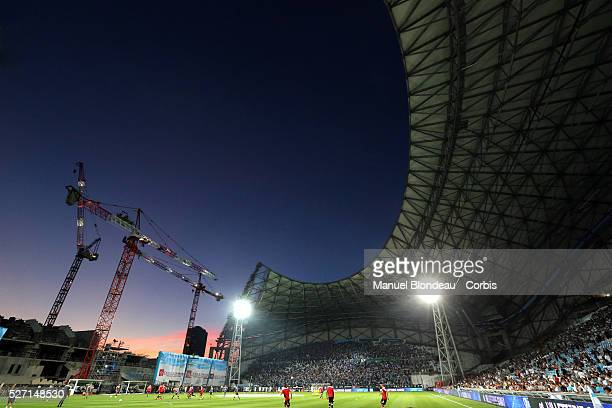 General view Stade Velodrome ongoing rebuilding work ahead of UEFA Euro 2016 during the French Ligue 1 Championship football match between Olympique...
