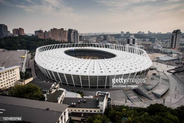 General view stadium of Dinamo Kiev during the UEFA Champions League match between Dinamo Kiev v Ajax at the NSK Olimpiejsky on August 28 2018 in...