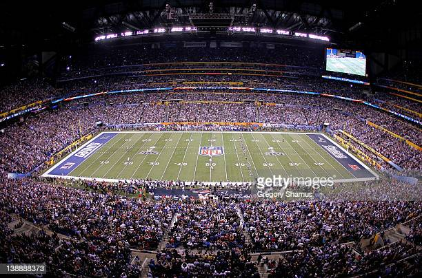 A general view Stephen Gostkowski of the New England Patriots kicking off to start the game against the New York Giants during Super Bowl XLVI at...