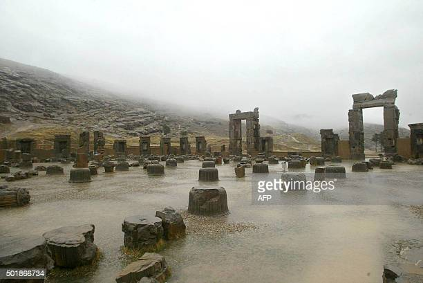 "General view taken 15 December 2004 shows the ruins of the ""hall of hundred columns"", in the ancient Persian city of Persepolis , near Shiraz in..."