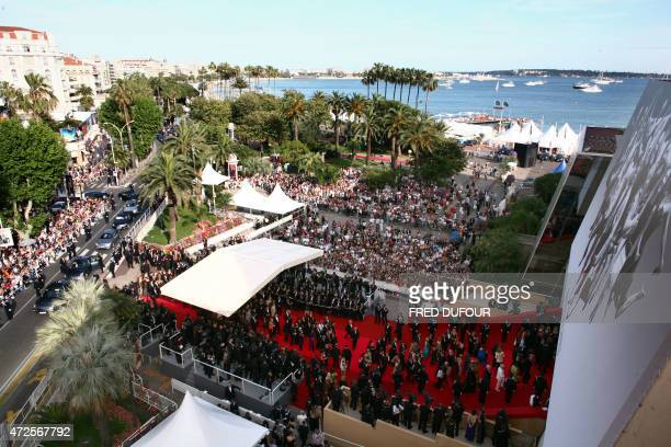 General view taken 16 May 2007 shows people arriving at the Festival Palace for the opening ceremony of the 60th edition of the Cannes Film Festival...