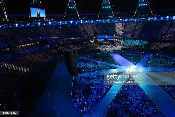 General view taken as British singer George Michael performs during the closing ceremony of the 2012 London Olympic Games at the Olympic Stadium in...