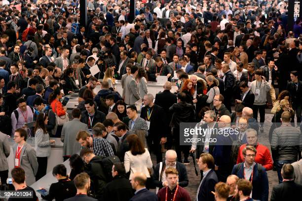 General view taken at the Mobile World Congress the world's biggest mobile fair on February 26 2018 in Barcelona The Mobile World Congress is held in...