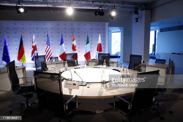 General view taken before a working session during the Foreign ministers of G7 nations meeting in Dinard, on April 6, 2019.