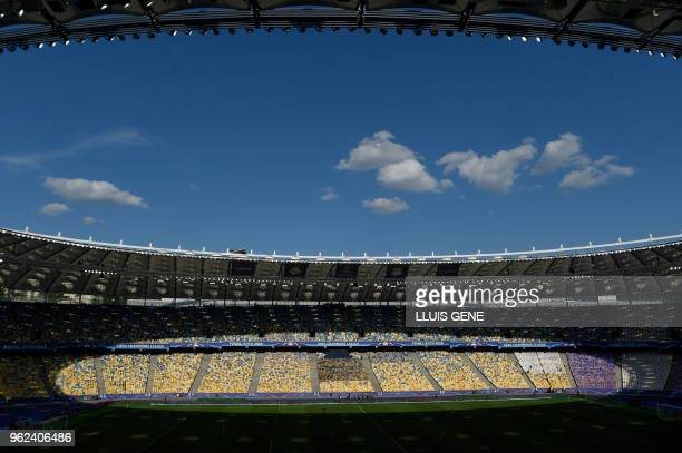 General view taken during a Liverpool team training session at the Olympic Stadium in Kiev, Ukraine on May 25 on the eve of the UEFA Champions League...