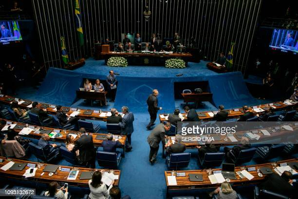 General view taken during a plenary session to elect the Senate's new president at the National Congress in Brasilia on February 2 2019