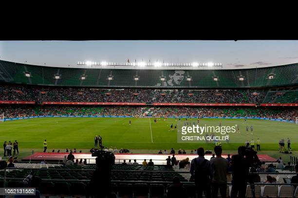 General view taken during a training session by Spain´s players at the Benito Villamarin stadium in Sevilla on October 14 on the eve of the UEFA...