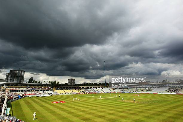 General view taken during the fourth day of the first npower test match between England and South Africa held on July 27 2003 at the Edgbaston...