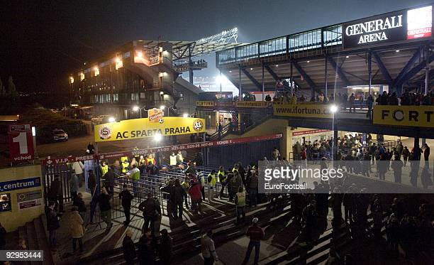 General view taken during the Gambrinus Liga match between AC Sparta Praha and FC Banik Ostrava held on October 31, 2009 at the GENERALI Arena in...