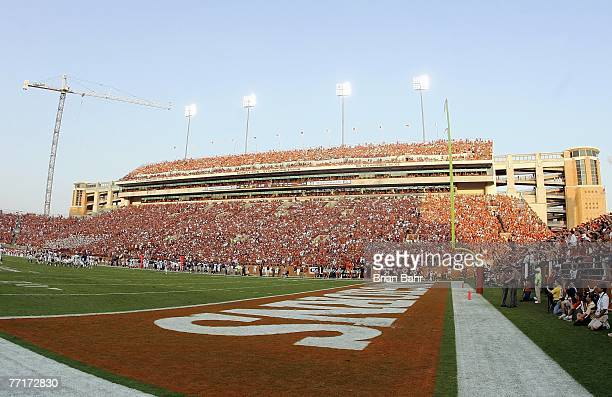 A general view taken during the game between the Texas Longhorns and the Rice Owls on September 22 2007 at Darrell K RoyalTexas Memorial Stadium in...