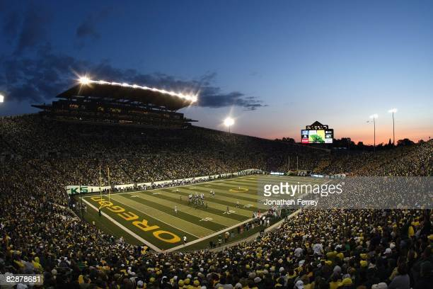 A general view taken during the game between the Washington Huskies and the Oregon Ducks at Autzen Stadium on August 30 2008 in Eugene Oregon