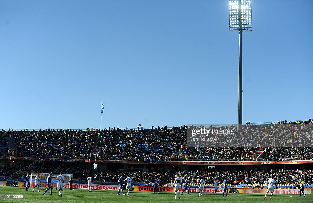 General view taken during the Group F first round 2010 World Cup football match New Zealand vs. Slovakia on June 15, 2010 at Royal Bafokeng stadium in Rustenburg. NO