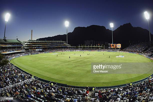 General view taken during the ICC Cricket World Cup Opening match between South Africa and the West Indies held on February 9 2003 at the Newlands...