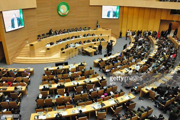 A general view taken during the opening session of the African Union on January 30 2014 at the AU headquarters in Addis Ababa Mauritanian President...