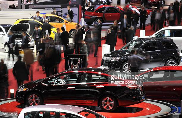 A general view taken during the second media day shows the 79th Geneva Car Show on March 4 2009 in Geneva The global auto industry under pressure to...