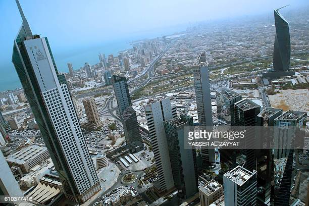 A general view taken from Kuwait City's Kipco Tower on September 25 shows the Arraya Tower Kuwait's business trade center and the AlTijaria Tower /...