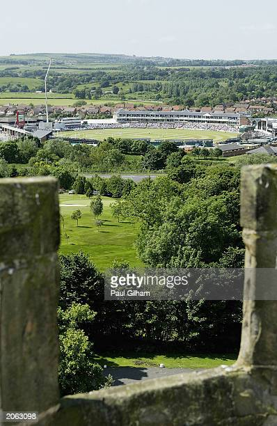 A general view taken from Lumley Castle in Durham during the third day of the second npower Test match between England and Zimbabwe at The Riverside...