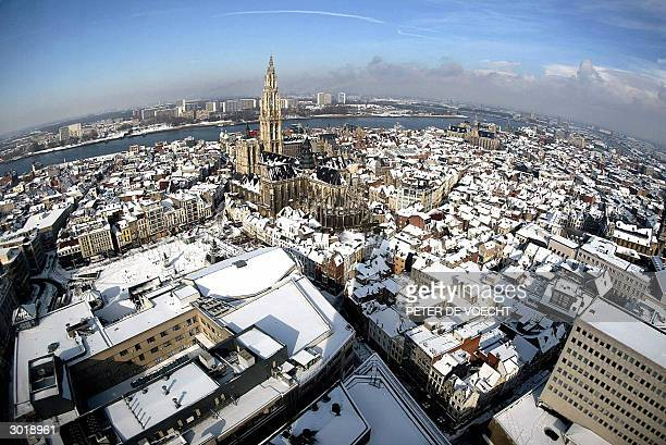 A general view taken from the Antwerp cathedral shows the center of the city covered with snow 27 February 2004 Heavy snowfalls covered all Belgium...