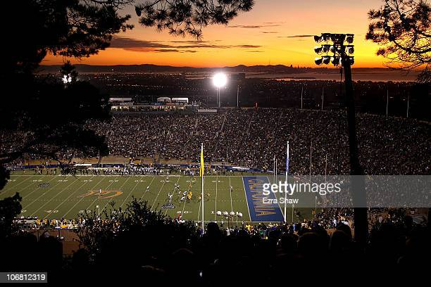 A general view taken from the hill overlooking the California Memorial Stadium during the Oregon Ducks game against the California Golden Bears at on...