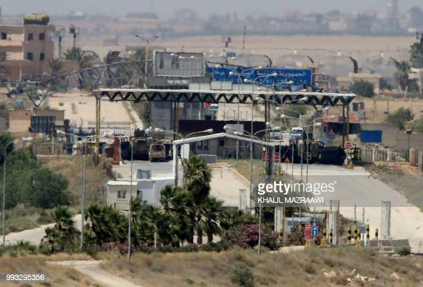 A general view taken from the Jordanian Mafraq governate on July 7 shows the border crossing Jaber a day after the Syrian army retook the Syrian side...