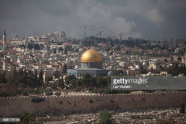 A general view taken from the Mount of Olives promenade overlooking the Temple Mount compound with The Dome of the Rock on October 31 2014 in...