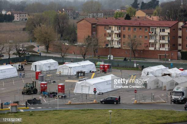 A general view taken from the rop of the Cremona Hospital shows a Samaritan's Purse Emergency Field Hospital on March 20 2020 in Cremona near Milan...