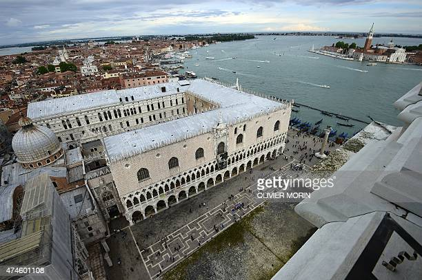 A general view taken from the top shows the Doge's Palace near St Mark's square in the city of Venice on May 23 2015 AFP PHOTO / OLIVIER MORIN