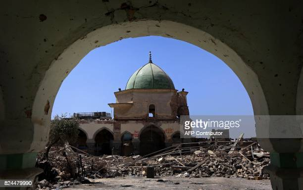 A general view taken in July 30 2017 shows part of the destroyed AlNuri Mosque in Mosul's old city / AFP PHOTO / SAFIN HAMED