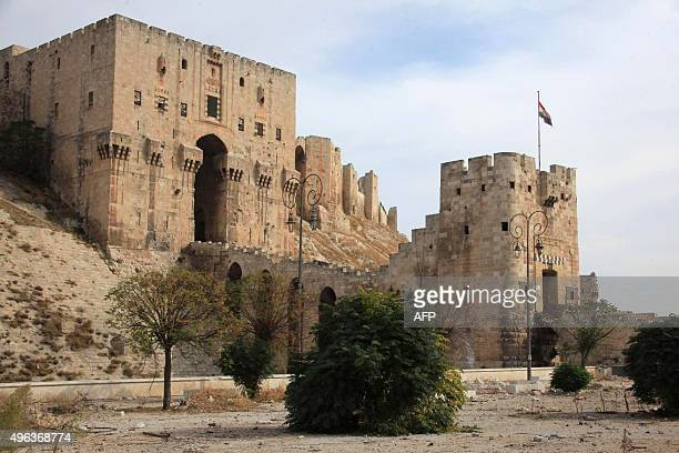 A general view taken in the regimecontrolled side of the northern Syrian city of Aleppo shows the city's historic citadel on November 9 a few days...
