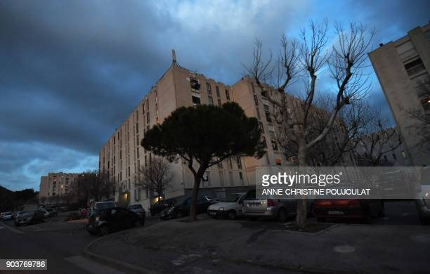 General view taken of the Cite de la Castellane housing project on January 10 2018 in the northern district of Marseille southern France / AFP PHOTO...