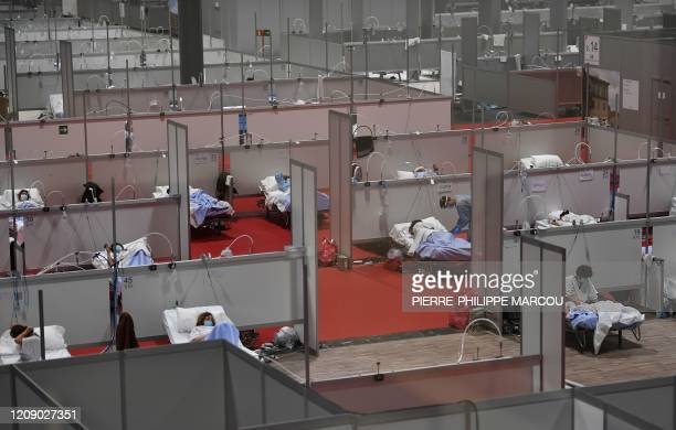 General view taken on April 03, 2020 of the temporary hospital for COVID-19 patients located at the Ifema convention and exhibition centre in Madrid....