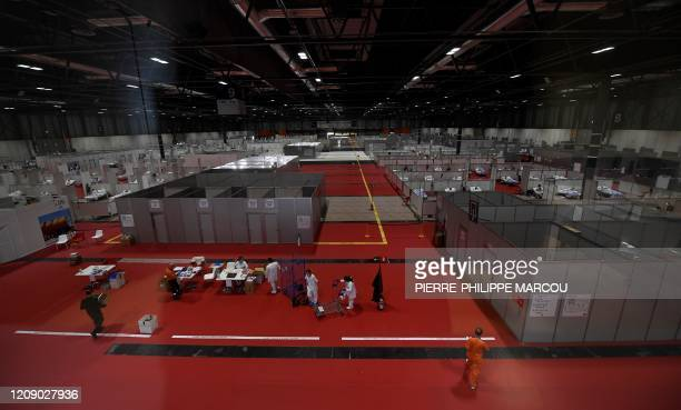 General view taken on April 03 2020 of the temporary hospital for COVID19 patients located at the Ifema convention and exhibition centre in Madrid...