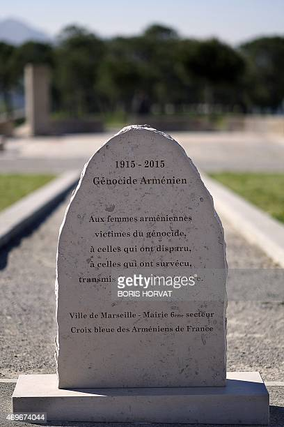 A general view taken on April 14 2015 shows the Armenian Genocide memorial dedicated to Armenian women in the southern French city of Marseille The...