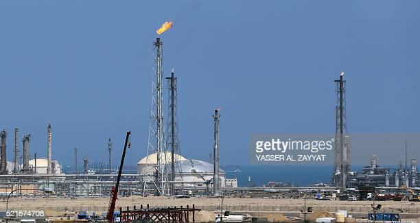General view taken on April 16, 2016 shows the Shuaiba oil refinery south of Kuwait City. Kuwaiti oil workers plan to go on strike on April 17, 2016...