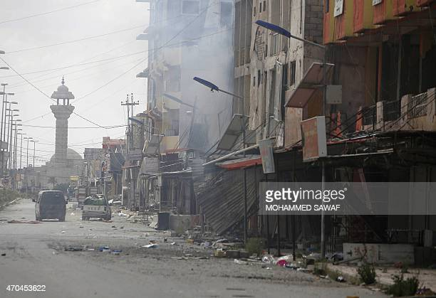 A general view taken on April 5 2015 shows destruction in a street in Tikrit after Iraqi forces retook the nothern city from Islamic State group...