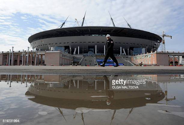A general view taken on April 5 2016 shows the construction site of the new football stadium in St Petersburg St Petersburg will host matches during...