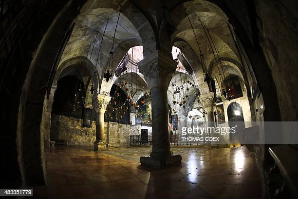 General view taken on April 7, 2014 shows the Armenian Chapel of Saint Helena, inside The Church of the Holy Sepulchre, Christianity's holiest site,...