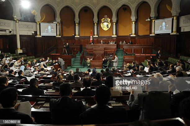 General view taken on December 8, 2011 of a meeting of the newly-elected constituent assembly at the assembly in Tunis. The constituent assembly is...