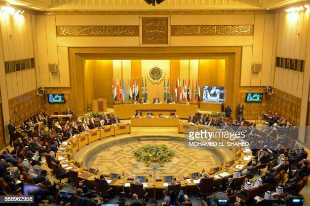 A general view taken on December 9 shows a general view of the Arab League headquarters during an emergency foreign ministers meeting in the Egyptian...