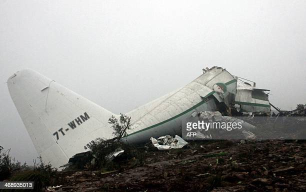 A general view taken on February 12 shows the wreckage of an C130 Hercules aircraft after it crashed the previous day into Mount Fertas in the...