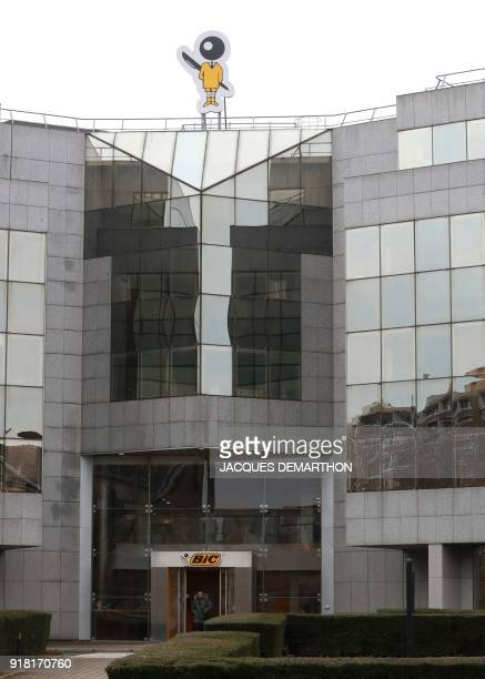 A general view taken on February 14 2018 shows the logo of Bic French maker of lighters pens and razors on the company's headquarters in Clichy near...