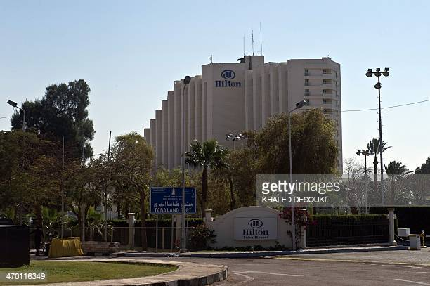 A general view taken on February 18 2014 shows the Hilton Taba Resort on the Egyptian side of the Taba Land Port crossing two days after a tourist...