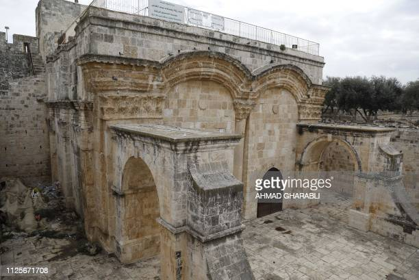 A general view taken on February 18 2019 shows the historic Gate of Mercy one of Old Jerusalelm's eight major gates which is reputed to be the oldest...