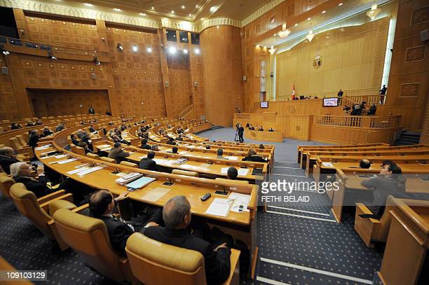 A general view taken on February 9 2011 shows the extraordinary session at the Senate in Tunis Tunisia's Senate was called on February 9 to grant...