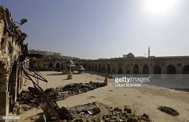A general view taken on January 22 2017 shows the damage at the ancient Umayyad Mosque in the old city of Aleppo a month after government forces...