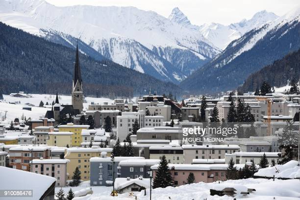 A general view taken on January 25 2018 shows the town of Davos eastern Switzerland the venue of the annual World Economic Forum / AFP PHOTO / Miguel...