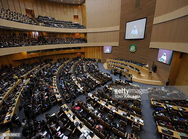 A general view taken on January 30 2016 in Addis Ababa shows the 26th presidential summit of the African Union Chad's president Idriss Deby was...
