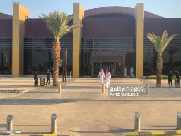General view taken on January 5, 2021 shows the airport in the Saudi city of Al-Ula upon the arrival of journalists and delegates to cover the Gulf...